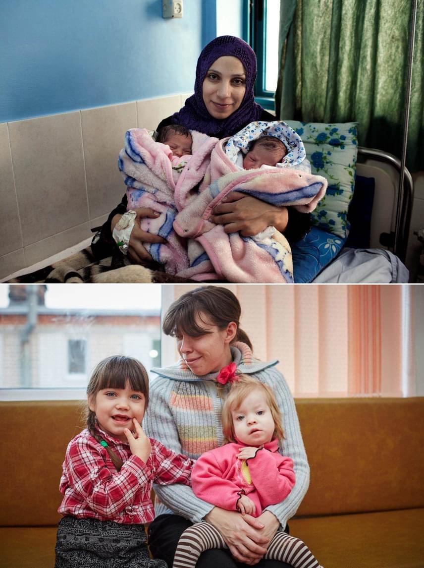 Fent: PalesztinaIslam és ikrei a kórházban készített fotón: az anya a jövőt Gázában képzeli el, de fél tőle, hogy mi vár rájuk ott.Lent: UkrajnaMariya és lányai Ukrajna háborús területéről lettek kitelepítve.