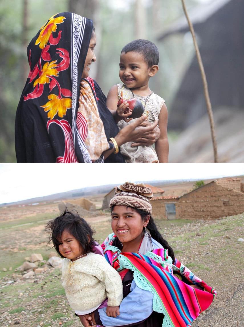 Fent: BangladesEanut és kislánya, Lisa a házuk előtt levegőznek a felvételen.Lent: BoliviaA fiatal anya, Melissa és lánya, Rosa.