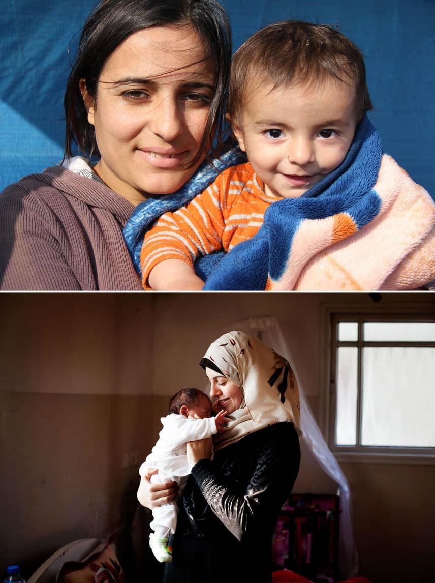 Fent: IrakMetab szíriai menekültként érkezett egy iraki táborba, ahol azonnal meg is szülte gyermekét.Lent: PalesztinaSafa első gyermekével, Asillal.