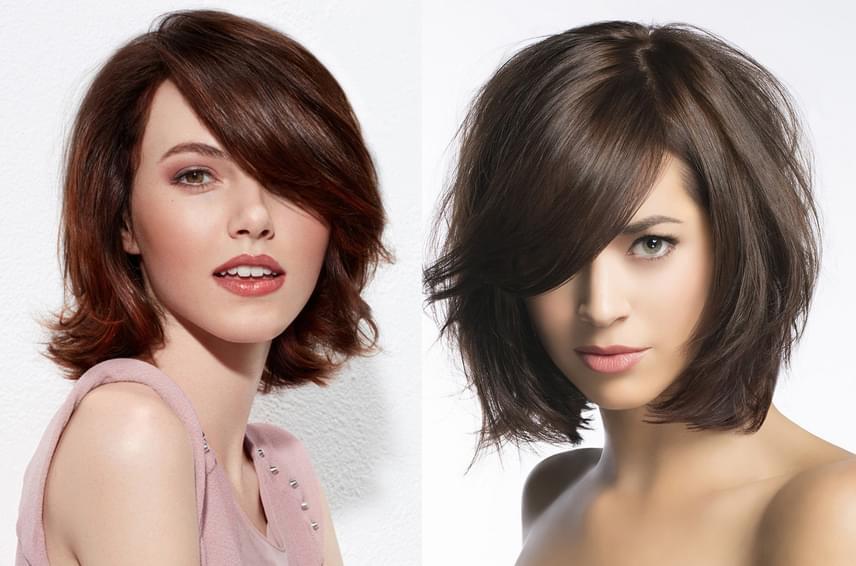 A félhosszú haj rétegesen vágva sokkal dúsabbnak, egészségesebbnek tűnik, egy oldalsó választék és egy féloldalasan vágott fazon pedig hosszúkás keretet ad az arcnak. Bár a frufru alapvetően szélesít az arcon, ez a forma optikailag mégis nyújt egy kicsit rajta.