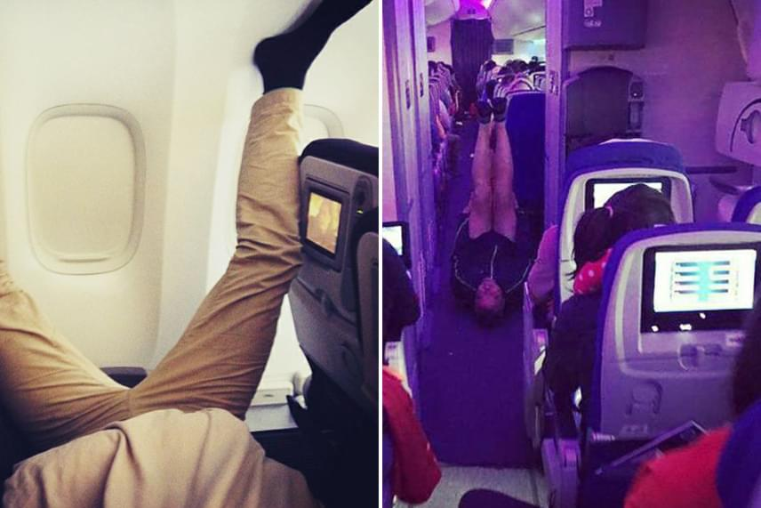 Jógázni egészséges, de a repülőn azért talán nem kéne.