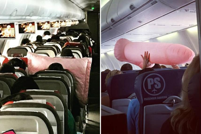 Illetlen nagy rózsaszín valamit tolni az utastársak arcába. Legyen szó párnáról vagy felfújható nemi szervről.