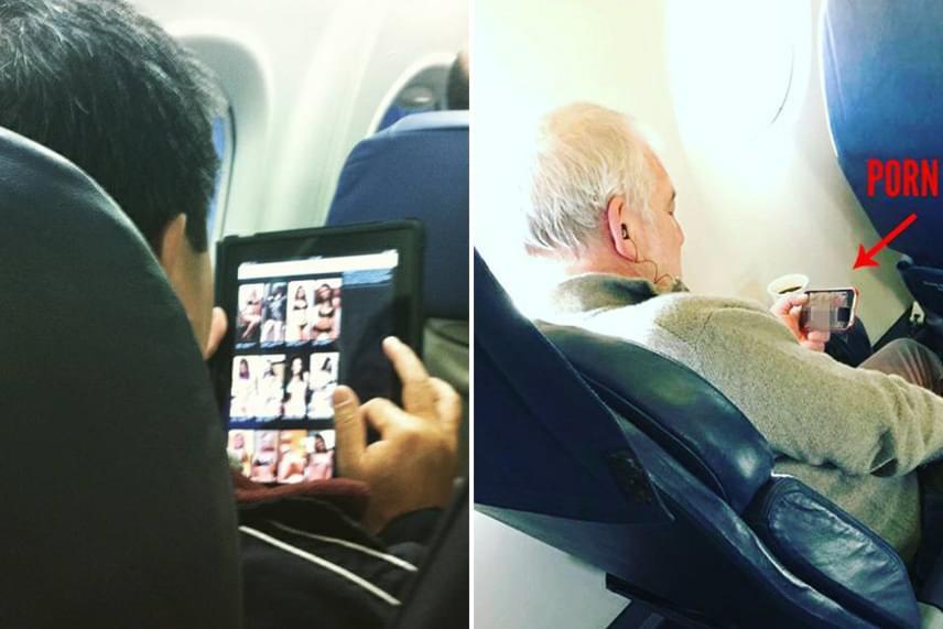 A fiatalember éppen escort lányokat válogat, az öreg úr pedig telibe egy pornófilm közepén jár, ami felettébb tiszteletlen a környező utasokra nézve.