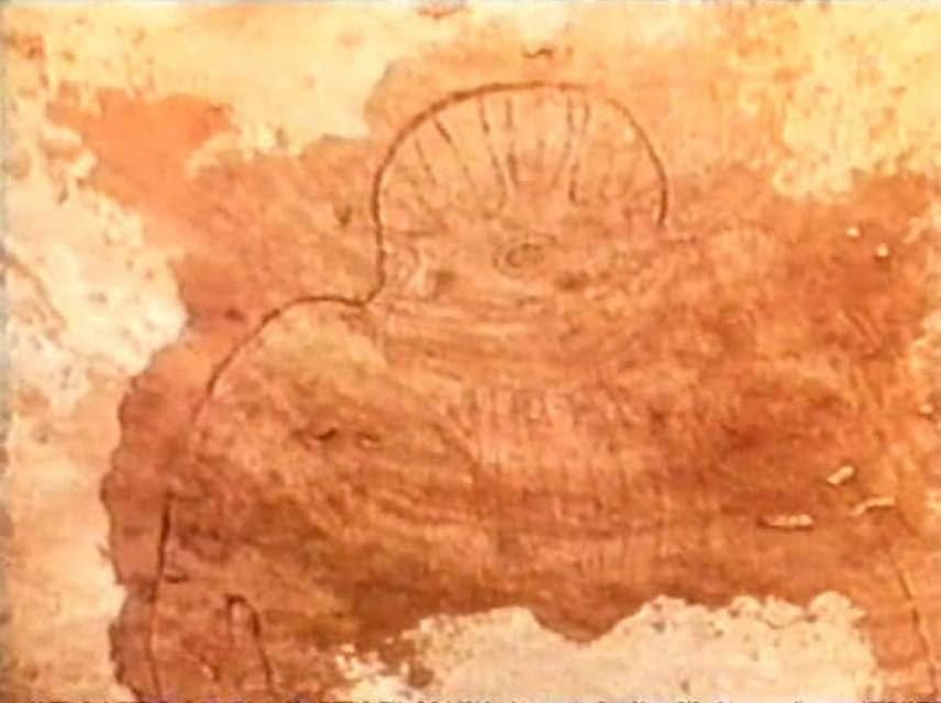 Tassili, Szahara, Algéria                         A Kr. e. 6000 táján készült rajzon látható figura maximum a testfelépítését tekintve hasonlít emberhez, a feje egyértelműen nem olyan, mint az embereké. Honnan vehette volna egy akkor élt ember a mintát a rajzához, ha nem idegenek látogatása ihlette?