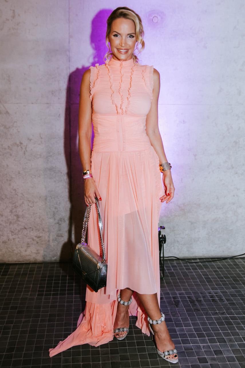 A fodros ruhához egy ezüstszínű Dior táskát és egy különleges tűsarkút választott.