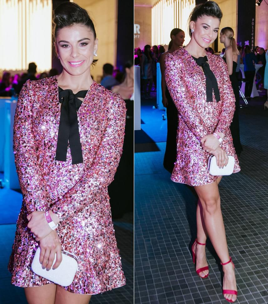 Molnár Andi táncos, műsorvezető a H&M Showroomból választotta ezt a pink különböző árnyalataiban csillogó, flitteres ruhát.