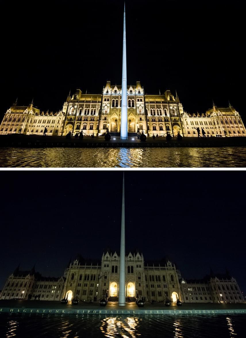 Az Országház épülete Budapesten, a Föld Órája elnevezésű akció előtt, kivilágítva - fent - és az akció idején - lent - kivilágítatlanul 2017. március 25-én este. Vaszkó Csaba kiemelte, hogy az önkormányzatok szerepe jelentős az energiahatékonyság fejlesztésében. Mint mondta: áprilisban teszik közzé a felmérés eredményét, amely közös gondolkodást indíthat el a hazai települések hatékony és környezetbarát energiagazdálkodásának fejlesztésében.