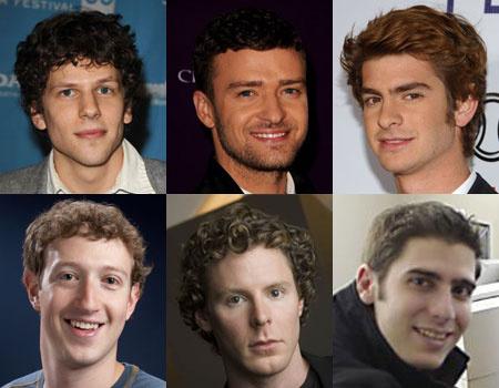 A felső sorban: Jesse Eisenberg, Justin Timberlake, Andrew Garfield. Az alsó sorban akiket alakítanak: Mark Zuckerberg, Sean Parker, Eduardo Saverin