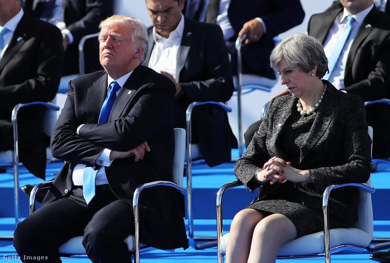 2017 májusában a brüsszeli NATO-csúcson a brit miniszterelnök találkozott az Egyesült Államok elnökével, Donald Trumppal