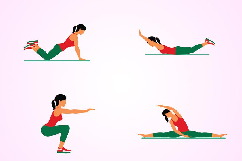 Csinálj kétszer 30 guggolást előre nyújtott karral, egyenes háttal úgy, hogy közben végig lásd a cipőd orrát. Ez azért fontos, mert a gyakorlat máskülönben sérülésveszélyes.