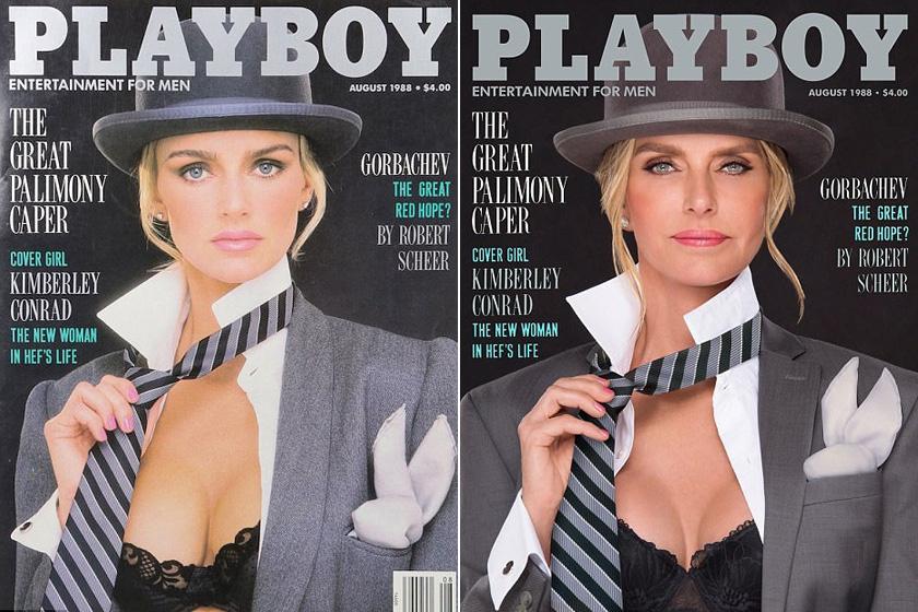 Hugh Hefner exneje, az 54 éves Kimberly Conrad az 1988-as címlapját alkotta újra.