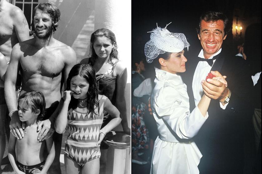 Jean-Paul Belmondo 1969-ben gyermekeivel és 1986-ban Patricia lánya esküvőjén.