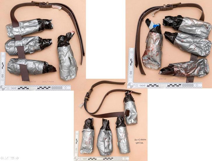 A három merénylő portréja és az akcióban használt kamubombák. Ragasztószalaggal betekert műanyag flakonok.