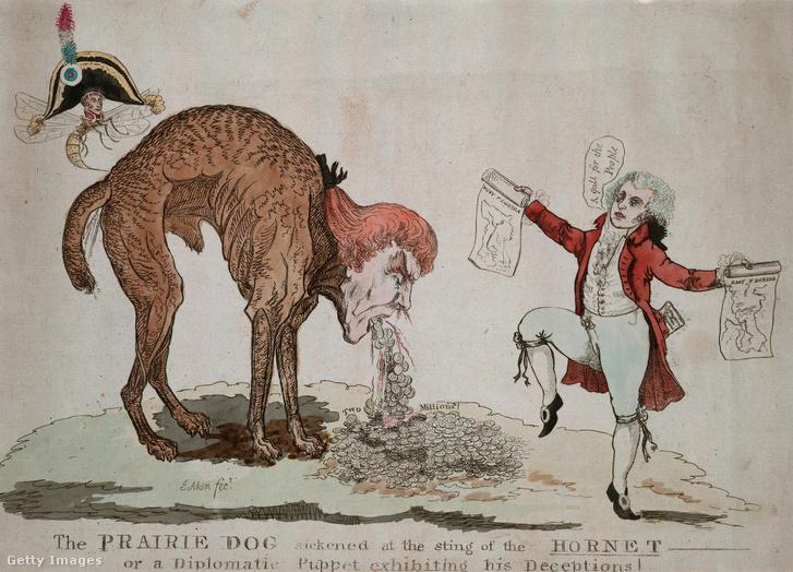 Egy karikatúra az 1800-as évekből, amin Thomas Jefferson felvásárolja a keleti partvidéket