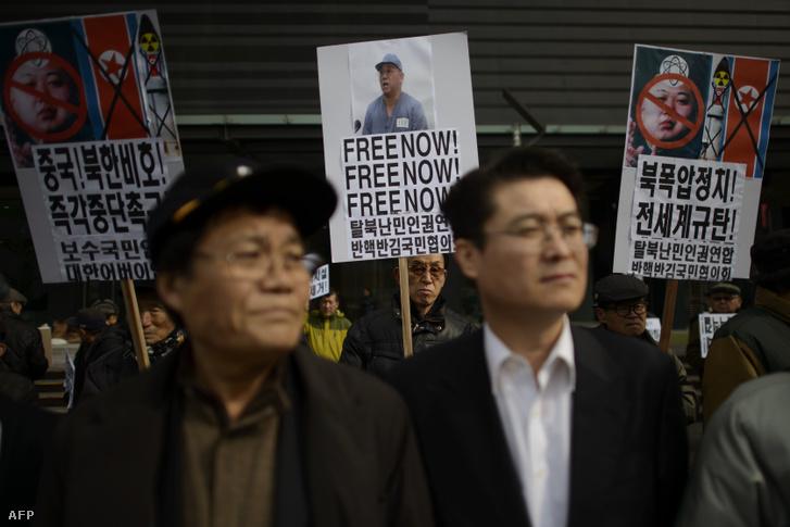 Kenneth Bae szabadon bocsátásáért tüntetők Dél-Koreában 2014 februárjában