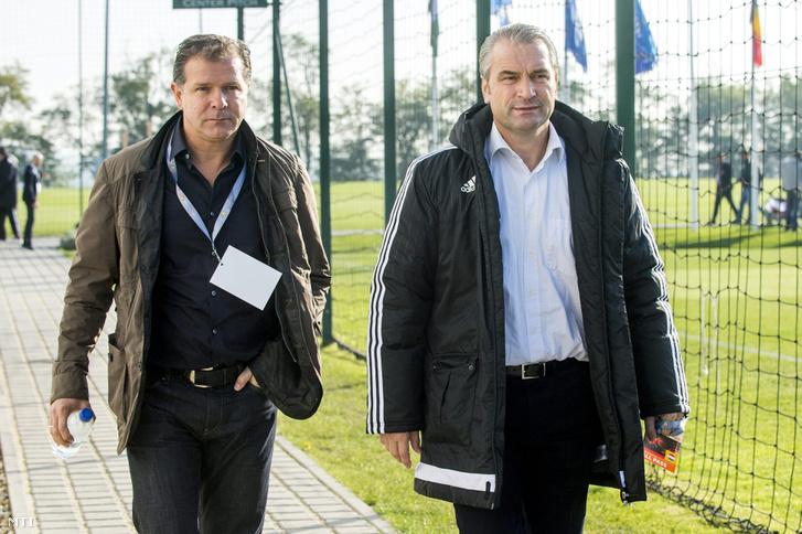 Caption:Telki 2015. október 24. Bernd Storck a magyar labdarúgó válogatott megbízott szövetségi kapitánya (j) és Andreas Möller egykori német válogatott labdarúgó a válogatott új edzője 2015. október 24-én