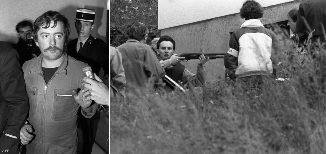 Balra: Bernard Laroche a letartoztatása után, 1984. november 5-én. Jobbra: Jean-Marie Villemin rekonstruálja a rendőröknek, hogy végzett unokatestvérével Bernard Larocheal, 1985. március 29-én.