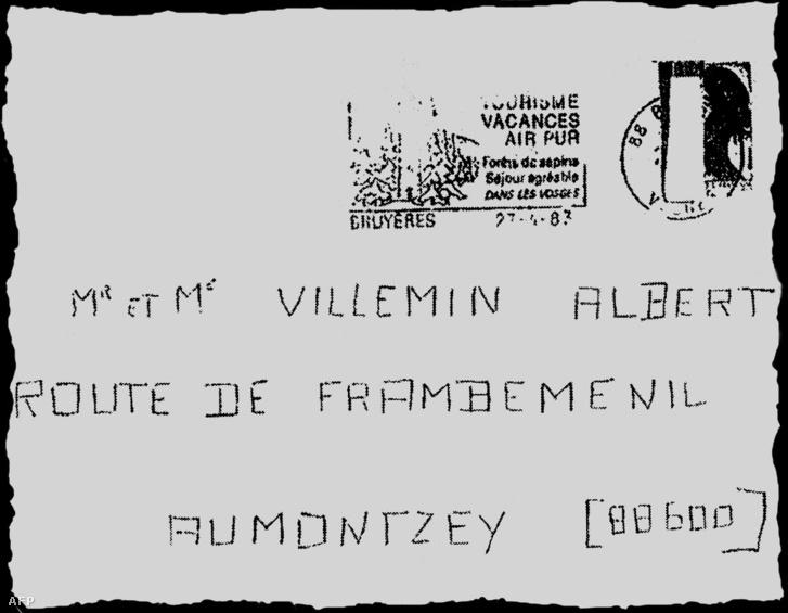 A Holló egyik levele amit a Villemin-családnak küldött