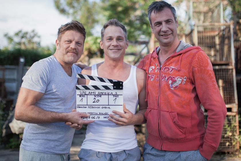 Szabó Győző, Hujber Feri és Pindroch Csaba a harmadik rész forgatásán.