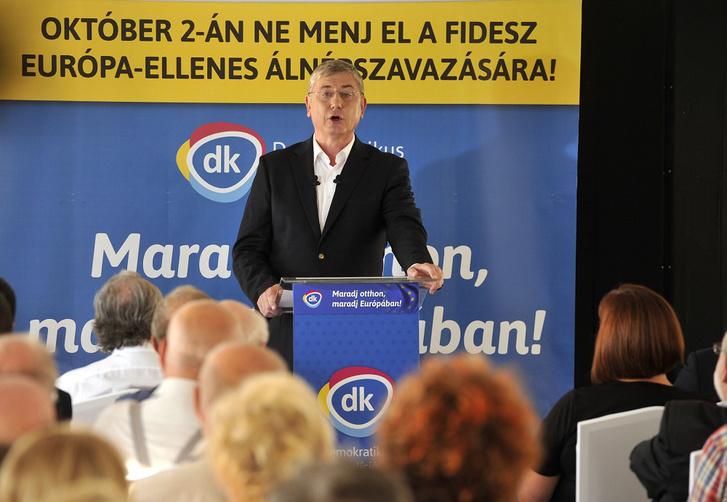 Gyurcsány Ferenc a Demokratikus Koalíció elnöke beszél pártja kampányindító rendezvényén a Zsófia főhercegné hajón Budapesten 2016. szeptember 2-án.