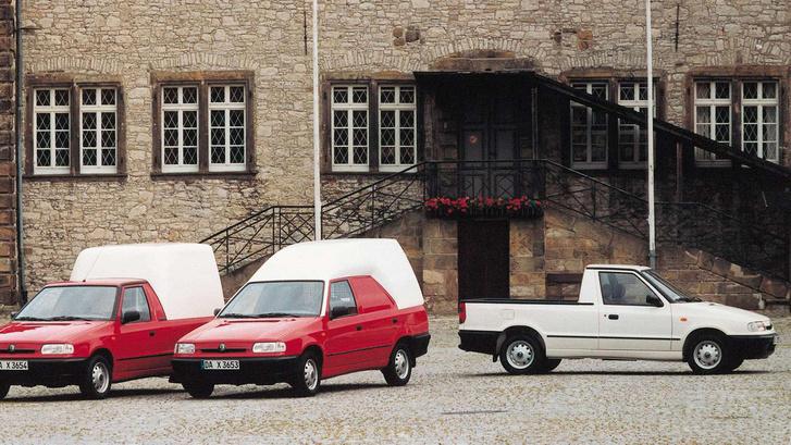 A Skoda haszonjárműcsalád a kilencvenes évek végén. A Pickup mellett a kombiból faragott Practic, és a dobozzal ellátott pickup. Mindből akad