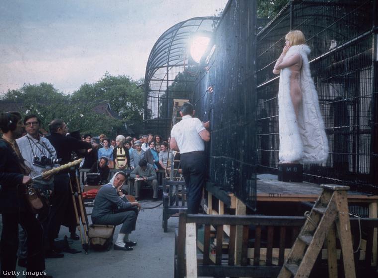 Mielőtt mutatunk néhány nagyon szép, fekete-fehér bikinis képet az idén 82 éves színésznőről, álljon itt egy színes fotó egy filmforgatásról, ami a londoni állatkertben zajlott.
