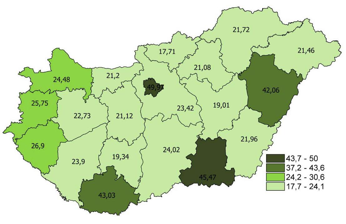 Orvosok létszáma 10 000 lakosra, megyénként (2015. december 31-i állapot)