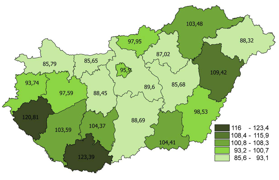 Egészségügyi szakdolgozók létszáma 10 000 lakosra, megyénként (2015. december 31-i állapot)