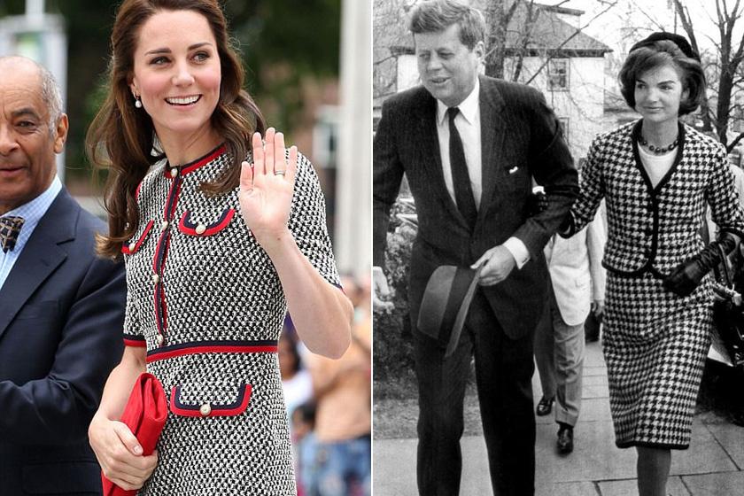 Jól választott a hercegné: hozzá is remekül illik ez a szofisztikált, tyúklábmintás ruhácska.