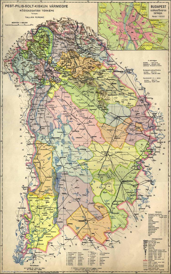 Pest-Pilis-Solt-Kiskun vármegye közigazgatási térképe az 1930-as évek második feléből