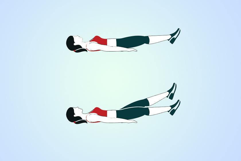 Feküdj hanyatt, nyújts ki a lábadidat, majd összezárva emeld fel őket öt-tíz centire a talajtól. Rúgj a levegőbe felfelé hol jobbal, hol ballal, minden sorozatban összesen százszor.