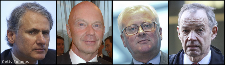 A Barclays Bank négy megvádolt vezetője: Thomas Kalaris, Roger Jenkins, John Varley és Richard Boath
