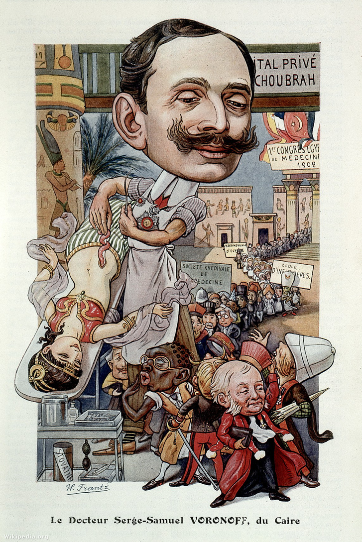 Karikatúra Voronoff kezeléséről