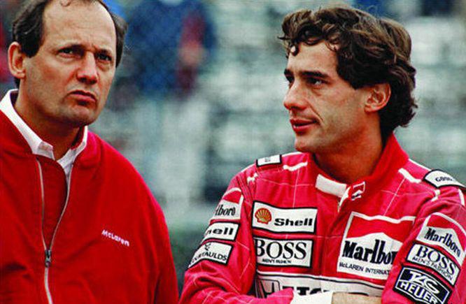 Dennis és Senna valamikor a McLaren hondás években, a 80-as évek végén vagy a 90-es évek elején