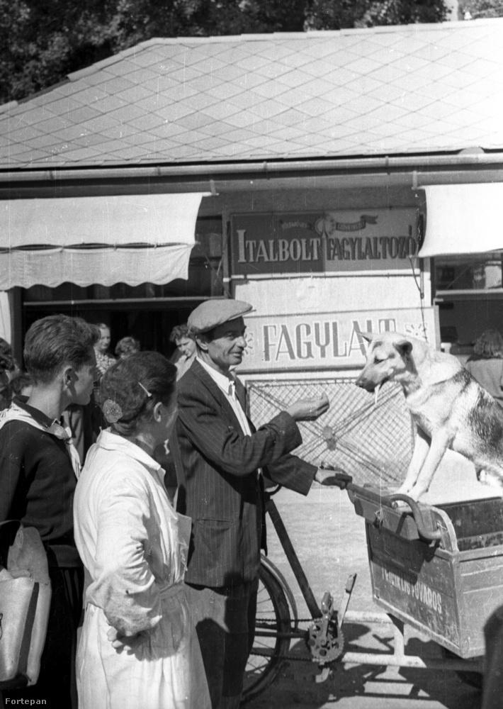 Mozgó fagyiárius Fonyódon a vasútállomás közelében található gyalogos feluljárónál, 1958.