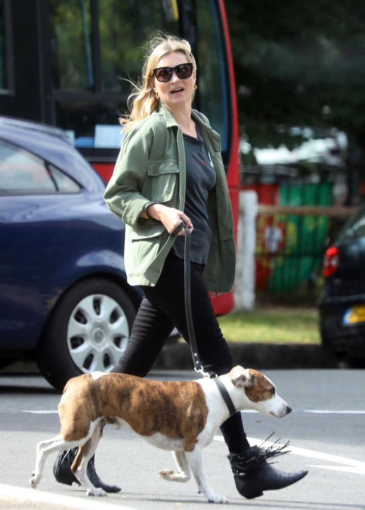 Kate Moss kutyástul ült be a barátaival borozgatni egyet július 3-án délután, egy londoni pubba