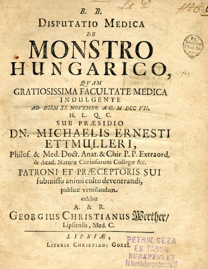 Michael Ernst Ettmüller Disputatio medica de monstro Hungarico című egyetemi orvosi disszertációja is tárgyalta a szőnyi ikrek esetét 1707-ben.