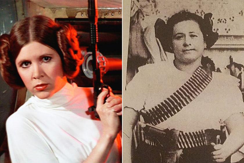 George Lucas utalása, a jellegzetes hajviselet, a harcos természet és a merész erőmű-kiiktatás - túl sok minden stimmel ahhoz, hogy Leia hercegnő ihletője ne a mexikói forradalmárnő, Clara legyen.