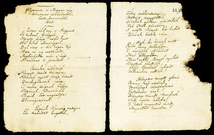 Kölcsey Ferenc Hymnus, a Magyar nép zivataros századéiból című költeményének kézirata