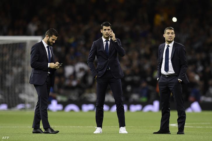 Morata (középen) az idei BL-döntő előtt