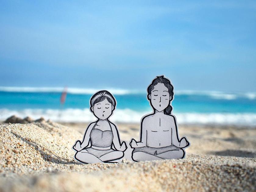 Rajzokkal örökítették meg élményeiket Baliban: íme, egy kis meditáció a Pandawa strandon!