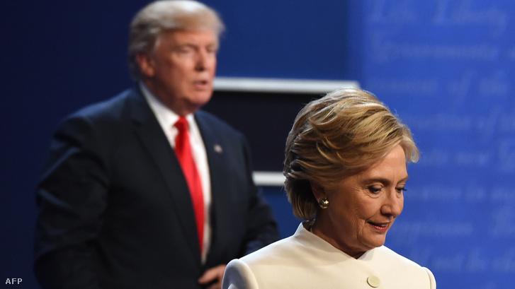 Trump és Clinton Las Vegasban, 2016. október 19-én, egy nyilvános vitán