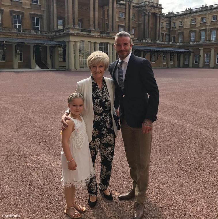 A londoni teadélutánon természetesen Harper Beckham nagymamája is ott volt
