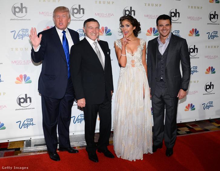 Donald Trump, Araz Agalarovval, Olivia Culpoval és Emin Agalarovval Las Vegasban.