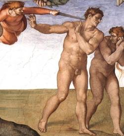 A képen nem Jason Comely látható, hanem Ádám és Éva Michelangelo freskóján