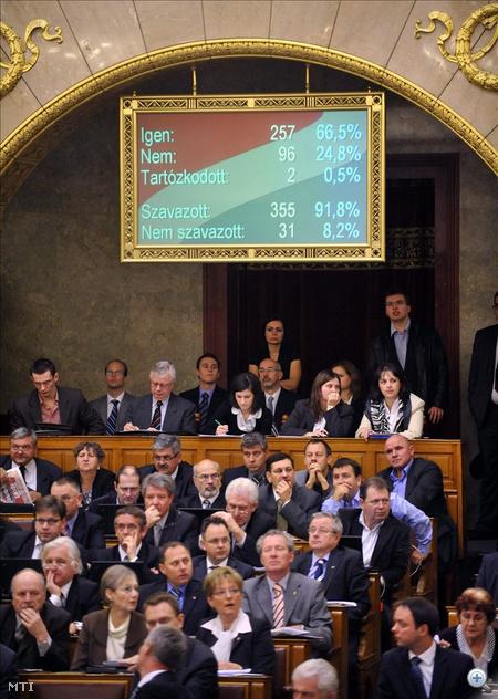 A szavazás eredménye látható egy kijelzőn az Országgyűlés plenáris ülésén. Az Országgyűlésben a gépi szavazás szerint mindössze 257 szavazatot kapott az a módosító javaslat, amellyel a Ház Lázár János fideszes frakcióvezető alkotmánymódosítási indítványát változtatta volna meg. A gépi szavazás szerint az indítványt a Ház 257 igen szavazattal, 96 nem ellenében, 2 tartózkodás mellett elutasította.
