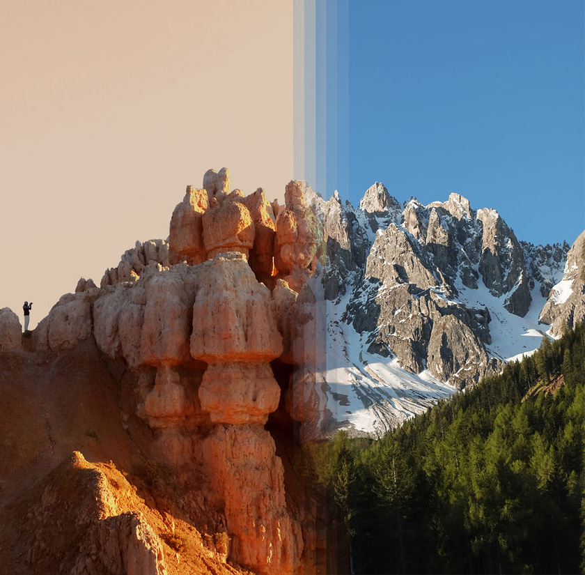 A kép bal oldalán az amerikai Bryce Canyon, a jobb oldalon az olaszországi Dolomitok látható.