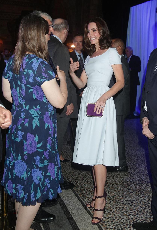 Katalin hercegné egy egyszerű szabású Preen by Thornton Bregazzi ruhát és Prada cipőt választott az eseményre.