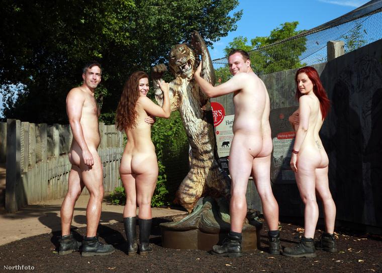 Az állatkert néhány dolgozója így igyekezett felhívni a figyelmet a tigrisek megmentésére szervezett adománygyűjtésre.