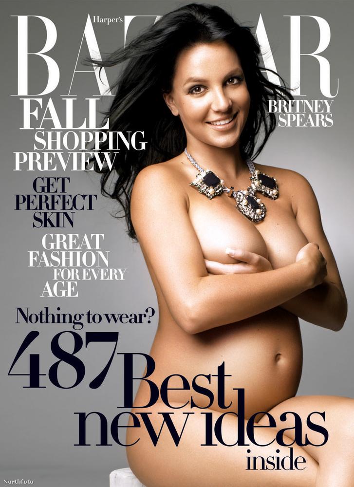 Britney Spears, 2006Első terhességét nem, de a másodikat már kellőképpen megünnepelte az énekesnő, amikor a Harper's Bazaar címlapján mutatta meg magát terhesen, egy szál nyakláncban